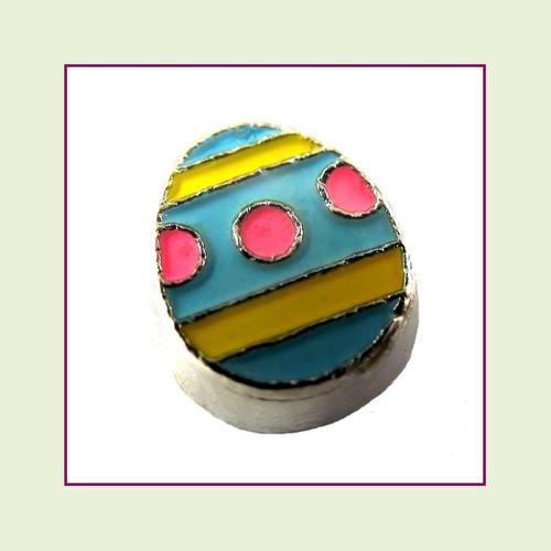 Easter Egg Blue (Silver Base) Floating Charm