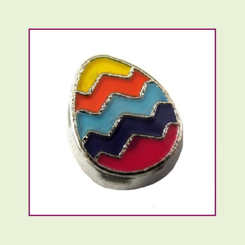 Easter Egg Colorful (Silver Base) Floating Charm