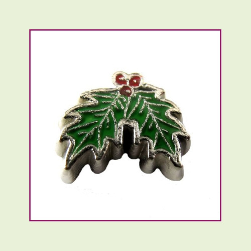 Holly Leaves (Silver Base) Floating Charm