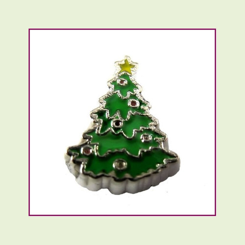 Christmas Tree #1 (Silver Base) Floating Charm