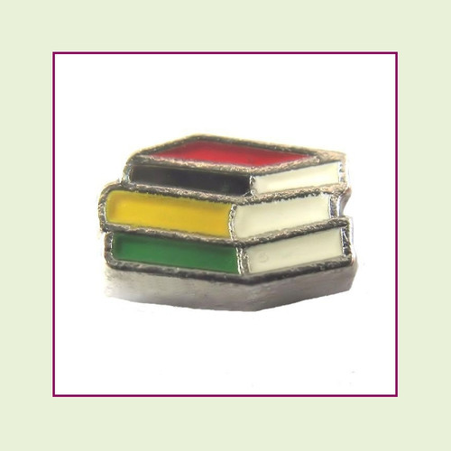 Book Stack Colorful (Silver Base) Floating Charm