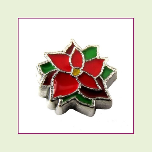 Poinsettia Flower (Silver Base) Floating Charm
