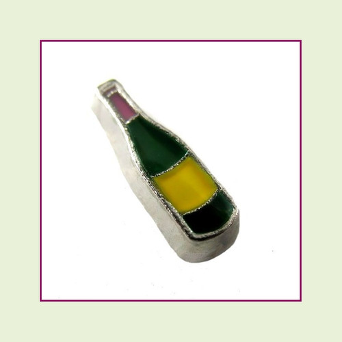 Wine Bottle Green (Silver Base) Floating Charm
