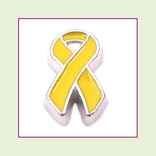 Awareness Ribbon Yellow Floating Charm