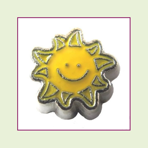 Sun with Smile Yellow (Silver Base) Floating Charm
