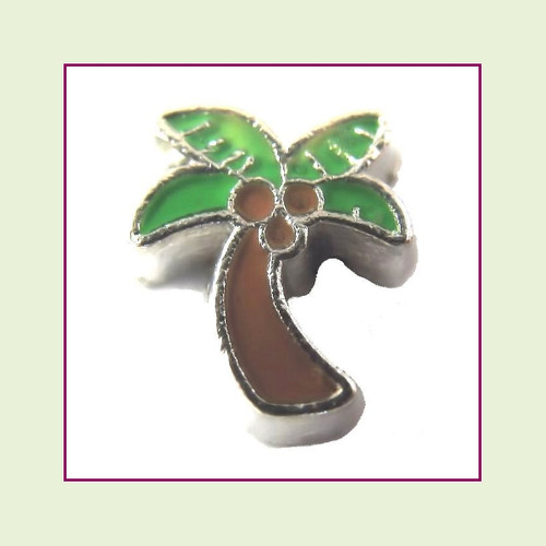Palm Tree Green/Brown (Silver Base) Floating Charm