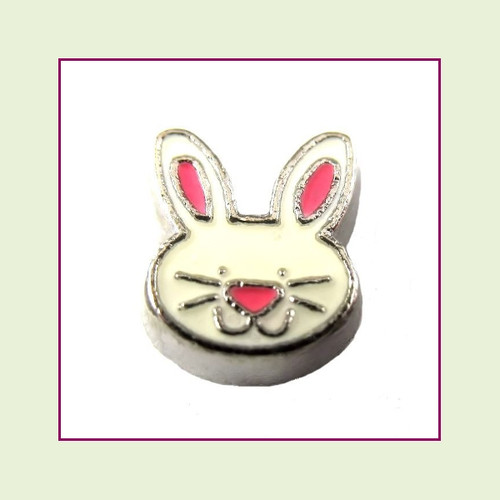 Easter Bunny Face (Silver Base) Floating Charm