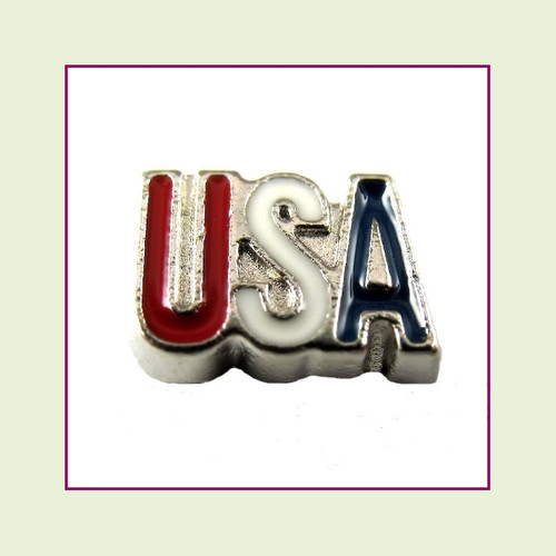 USA Letters (Silver Base) Floating Charm