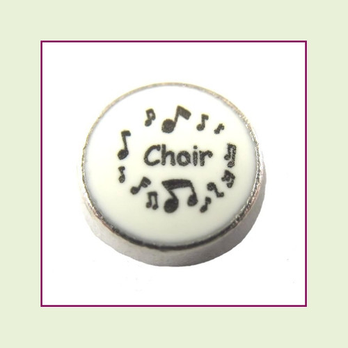 Choir on White Round (Silver Base) Floating Charm