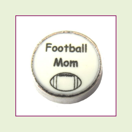 Football Mom on White Round (Silver Base) Floating Charm