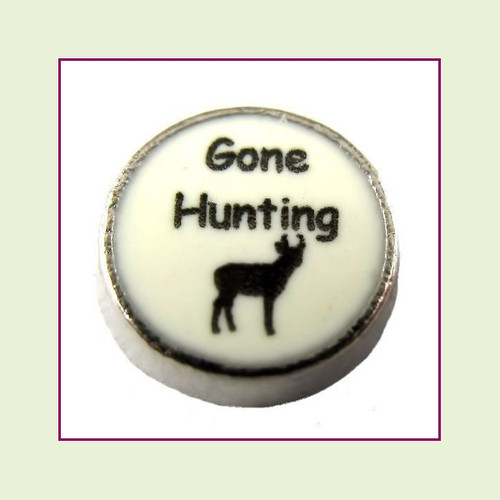 Gone Hunting on White Round (Silver Base) Floating Charm
