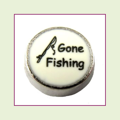 Gone Fishing on White Round (Silver Base) Floating Charm