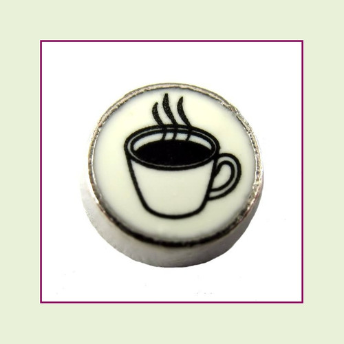 Coffee Cup on White Round (Silver Base) Floating Charm