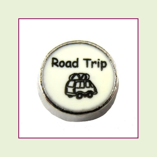 Road Trip on White Round (Silver Base) Floating Charm
