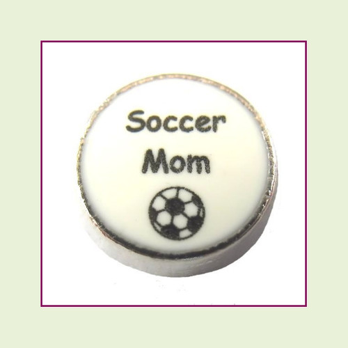 Soccer Mom on White Round (Silver Base) Floating Charm