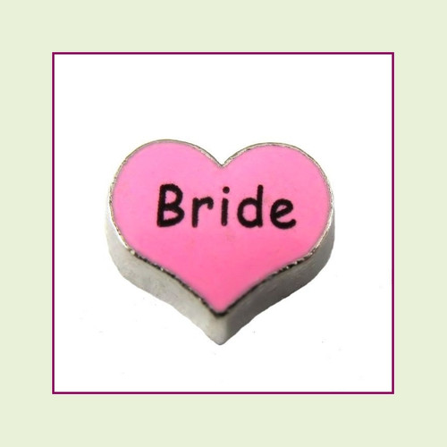 Bride on Pink Heart (Silver Base) Floating Charm