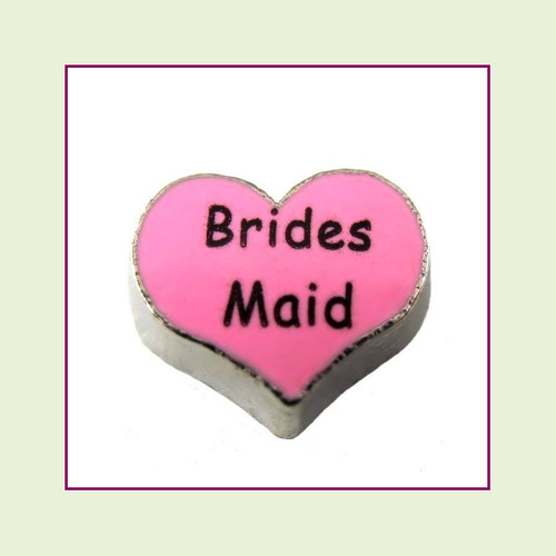 Bridesmaid on Pink Heart (Silver Base) Floating Charm