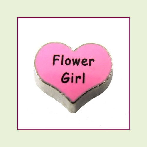Flower Girl on Pink Heart (Silver Base) Floating Charm