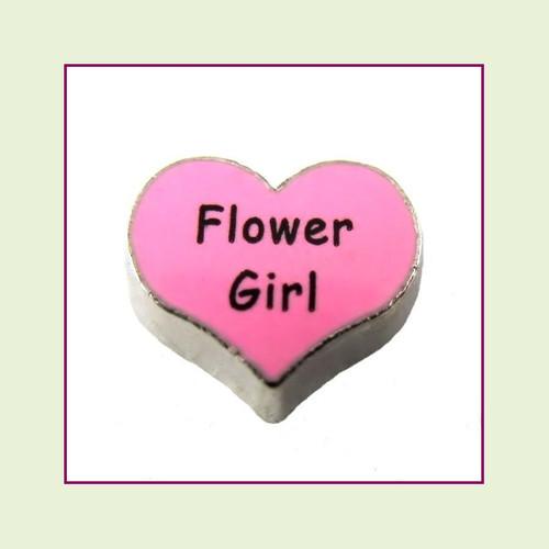 Flower Girl on Pink Heart (Silver Base) Floating Charm