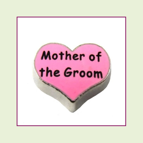 Mother of the Groom on Pink Heart (Silver Base) Floating Charm