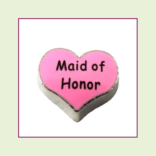 Maid of Honor on Pink Heart (Silver Base) Floating Charm