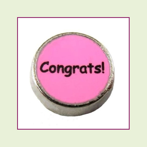 Congrats! on Pink Round (Silver Base) Floating Charm