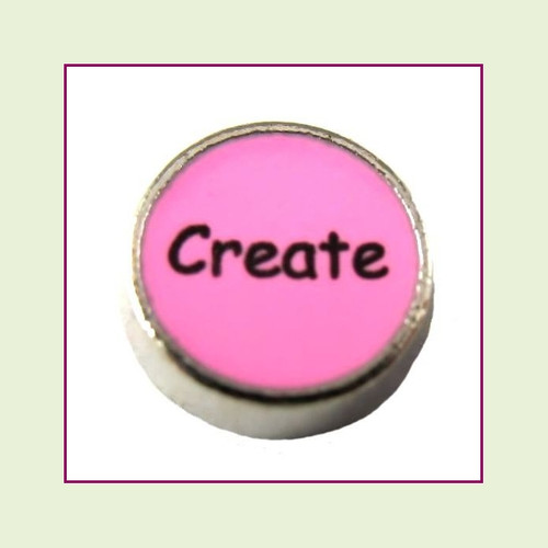 Create on Pink Round (Silver Base) Floating Charm