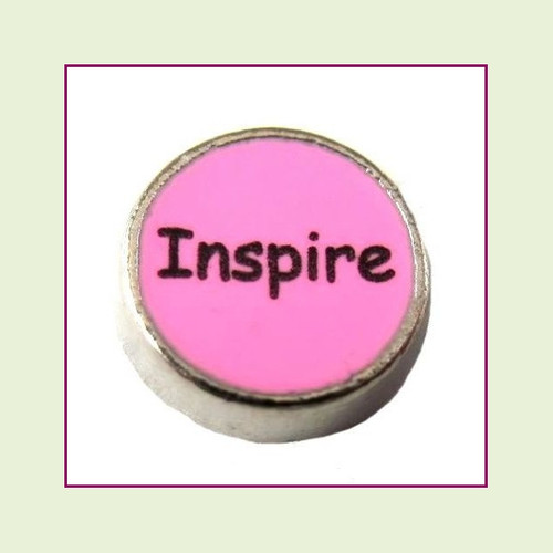 Inspire on Pink Round (Silver Base) Floating Charm