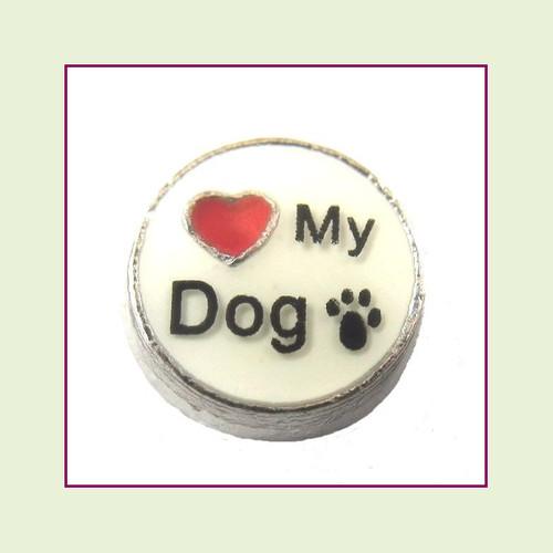 Love My Dog on White Round (Silver Base) Floating Charm