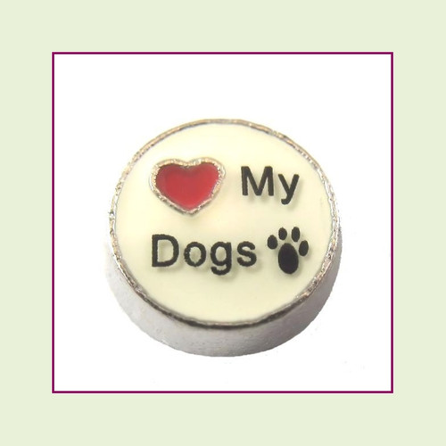 Love My Dogs on White Round (Silver Base) Floating Charm