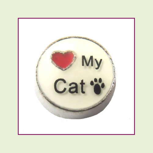 Love My Cat on White Round (Silver Base) Floating Charm