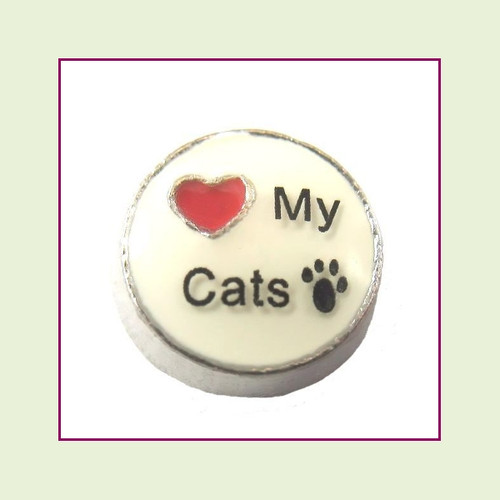 Love My Cats on White Round (Silver Base) Floating Charm