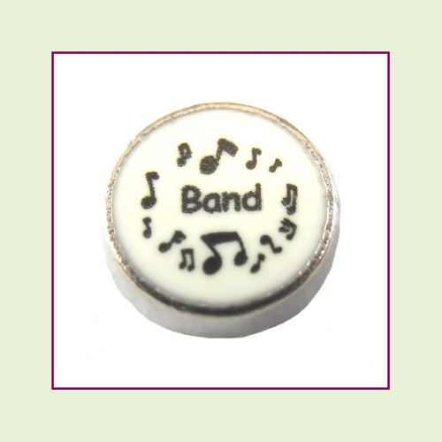 Band on White Round (Silver Base) Floating Charm