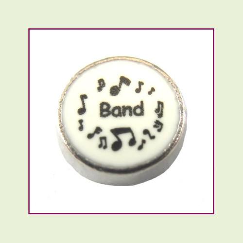 Band on White Round (Silver Base) Floating Charm