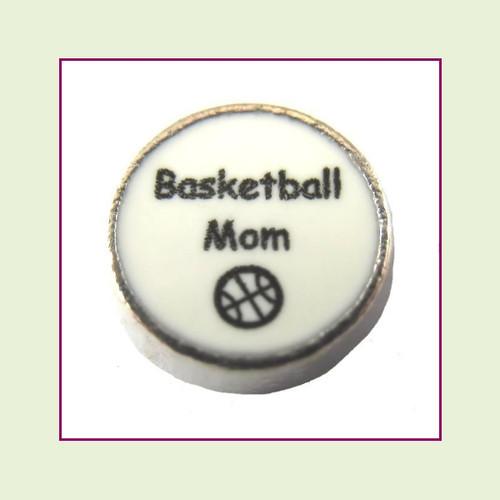 Basketball Mom on White Round (Silver Base) Floating Charm