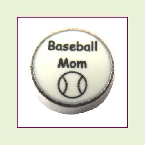 Baseball Mom on White Round (Silver Base) Floating Charm