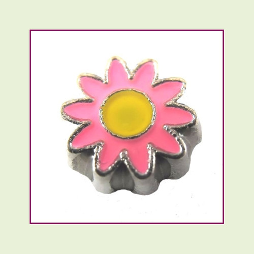 Daisy Flower Pink (Silver Base) Floating Charm