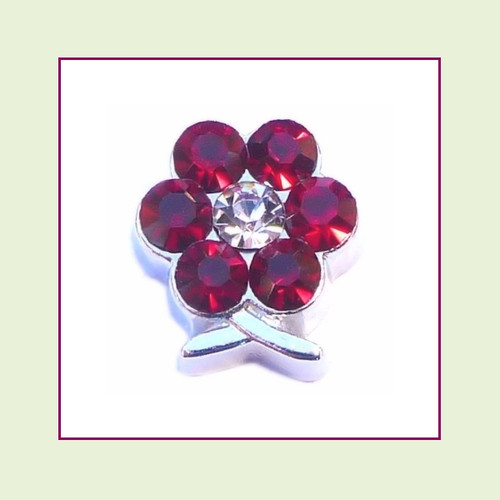 BF-01 January Silver Flower Birthstone Floating Charm