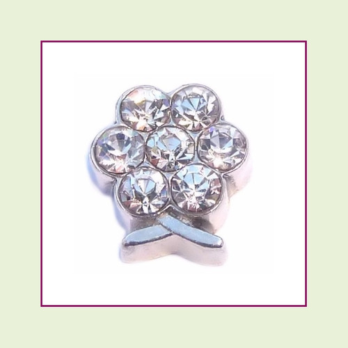 BF-04 April Silver Flower Birthstone Floating Charm