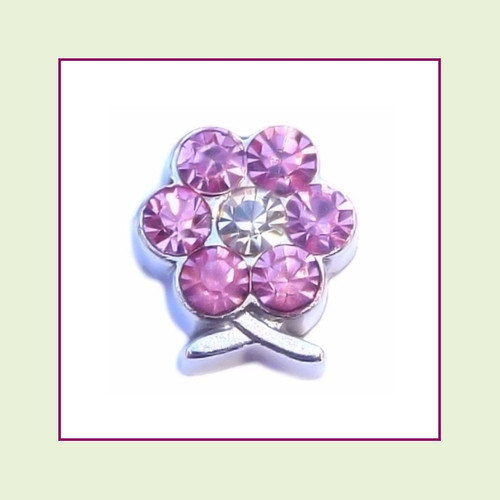 BF-06 June Silver Flower Birthstone Floating Charm