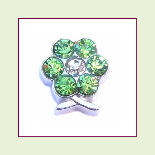 BF-08 August Silver Flower Birthstone Floating Charm