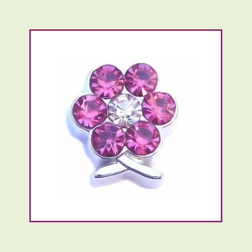 BF-10 October Silver Flower Birthstone Floating Charm