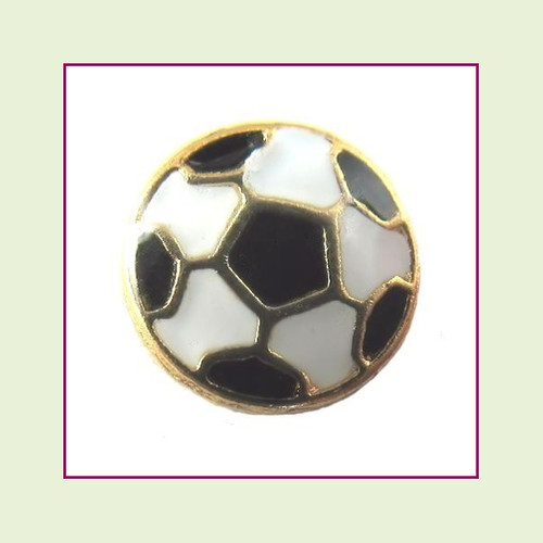 Soccer Ball (Gold Base) Floating Charm