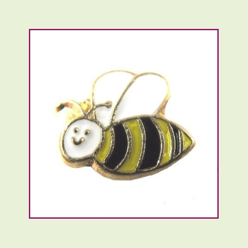 Bee Cute Face (Gold Base) Floating Charm