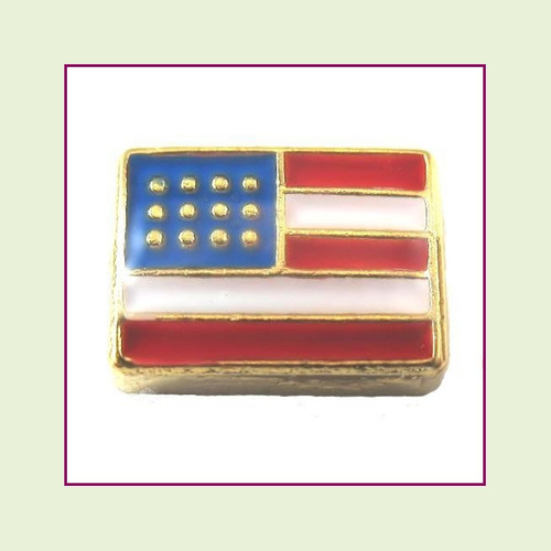 USA Flag (Gold Base) Floating Charm