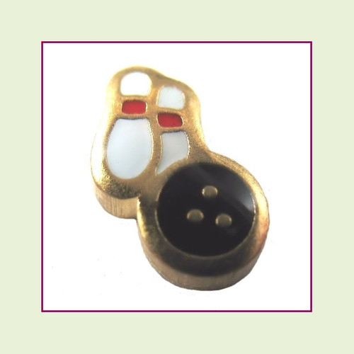 Bowling Ball with 2 Pins (Gold Base) Floating Charm