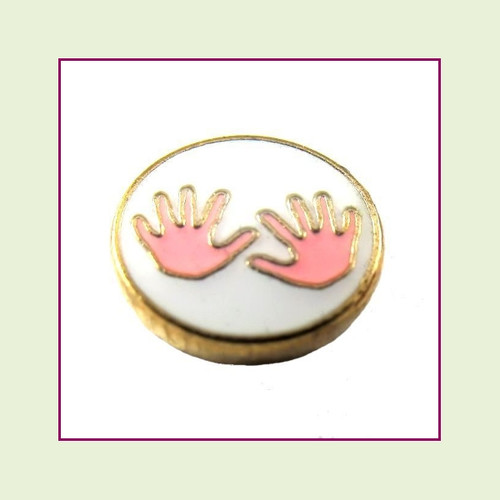 Baby Hands Pink (Gold Base) Floating Charm