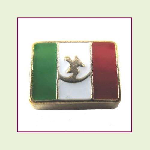 Mexico Flag (Gold Base) Floating Charm