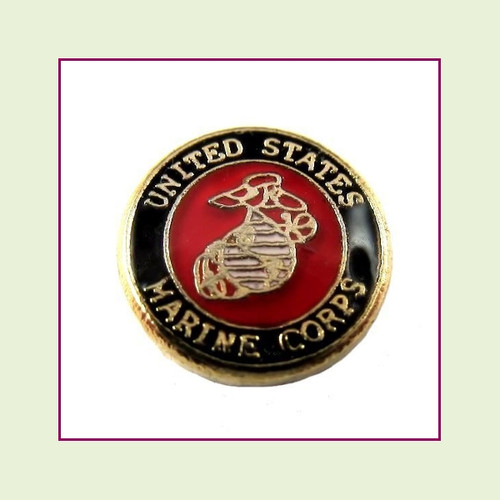 Marine Corps Round (Gold Base) Floating Charm