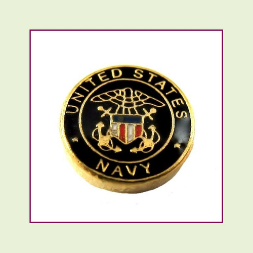 Navy Round (Gold Base) Floating Charm